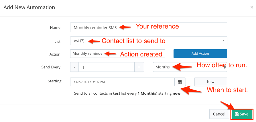 Send a recurring SMS to a contact list